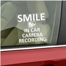 1 x Smile In Car Camera Recording Window Sticker-87mmx87mm-CCTV Sign-Van,Lorry,Truck,Taxi,Bus,Mini Cab,Minicab-Go Pro,Dashcam
